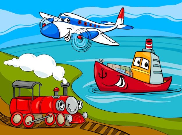 Vliegtuig schip trein cartoon afbeelding
