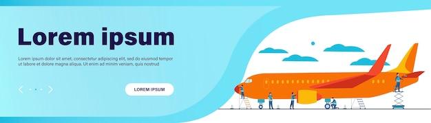 Vliegtuig service geïsoleerd platte vectorillustratie. cartoon mechanica vliegtuig voor vlucht repareren of brandstof toevoegen