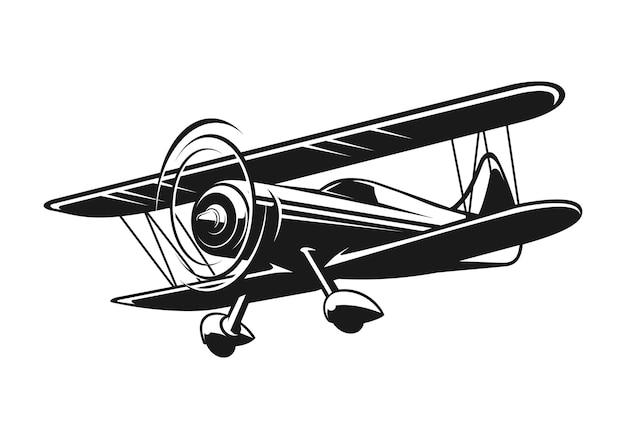 Vliegtuig silhouet illustratie in zwart en wit
