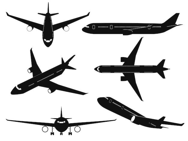 Vliegtuig silhouetten. passagiersvliegtuigen in verschillende hoeken, vliegend vliegtuig boven-, zij- en vooraanzicht. internationaal transport reizen reis commerciële luchtvaart zwarte vliegtuigen vector geïsoleerde set