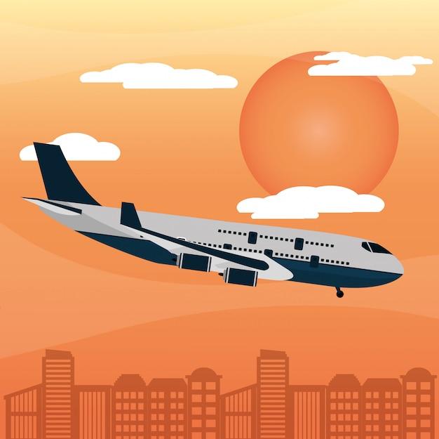 Vliegtuig stad zonsondergang
