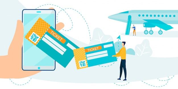 Vliegtuig ticket applicatie op mobiele telefoon metafoor
