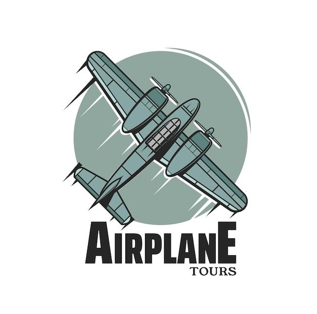 Vliegtuig tours vector icoon met vintage vliegtuig