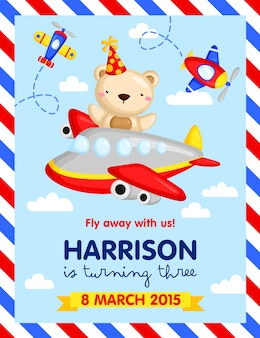 Vliegtuig verjaardagsuitnodiging