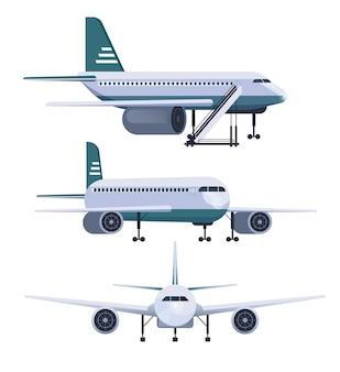 Vliegtuig verschillende weergave instellen platte ontwerp illustratie
