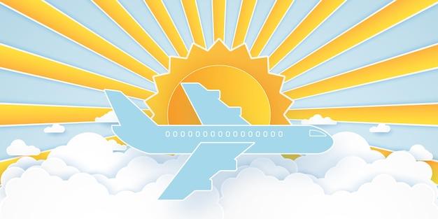 Vliegtuig vliegen in de blauwe lucht met wolken en felle zon, cloudscape, papier kunststijl
