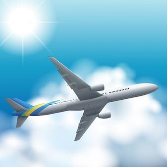 Vliegtuig vliegt hoog in de lucht