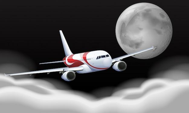 Vliegtuig vliegt in de fullmoon