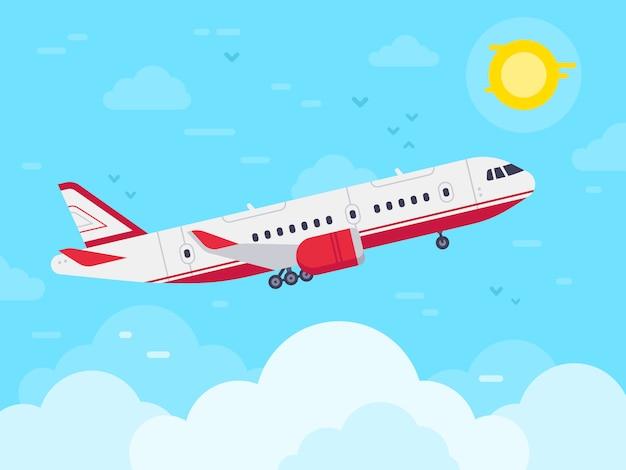 Vliegtuig vliegt in de lucht, jet vliegen in de wolken, vliegtuigen reizen en vakantie vliegtuigen plat