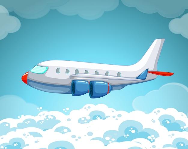 Vliegtuig vliegt in de lucht