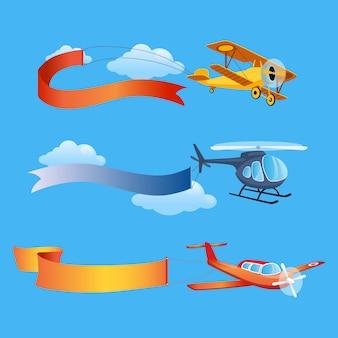 Vliegtuig vliegt met lange banners voor tekst op een achtergrond van lucht