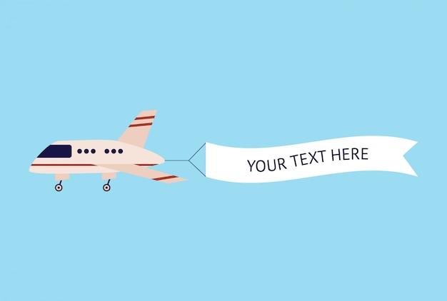 Vliegtuig vliegt met tekst sjabloon banner, cartoon vliegtuig in de lucht met reclame bericht teken, wit lintje vlag achter platte vliegtuig - schattige vectorillustratie geïsoleerd op blauwe achtergrond