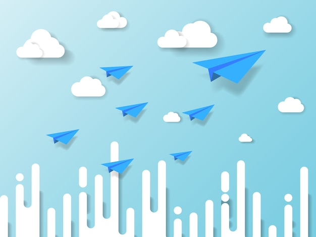 Vliegtuig vliegt op blauwe hemel met cloud en abstracte achtergrond