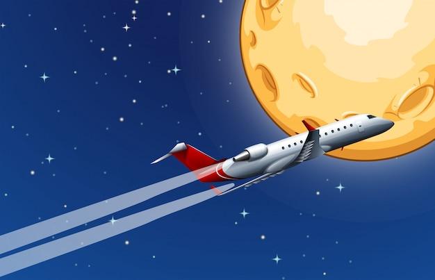 Vliegtuig vliegt over de maan