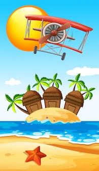 Vliegtuig vliegt over eiland