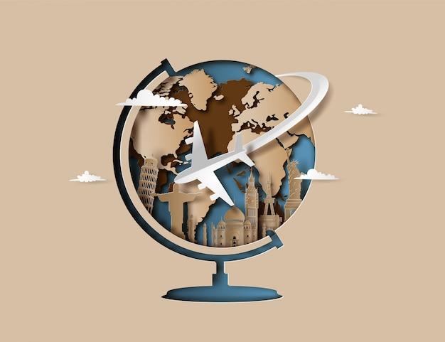 Vliegtuig vliegt rond de planeet