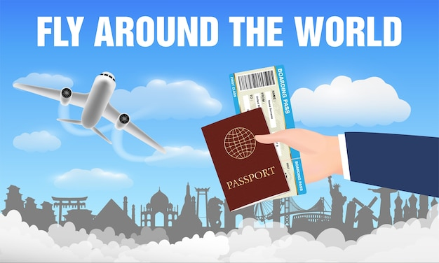 Vliegtuig vliegt rond de wereld en handpaspoort