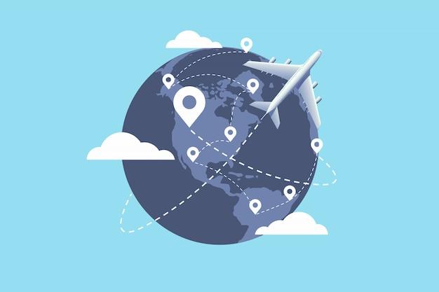Vliegtuig vliegt rond de wereld