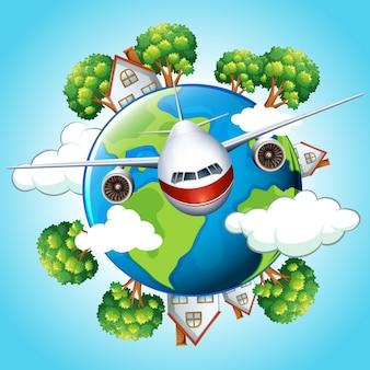Vliegtuig vliegt uit de wereld