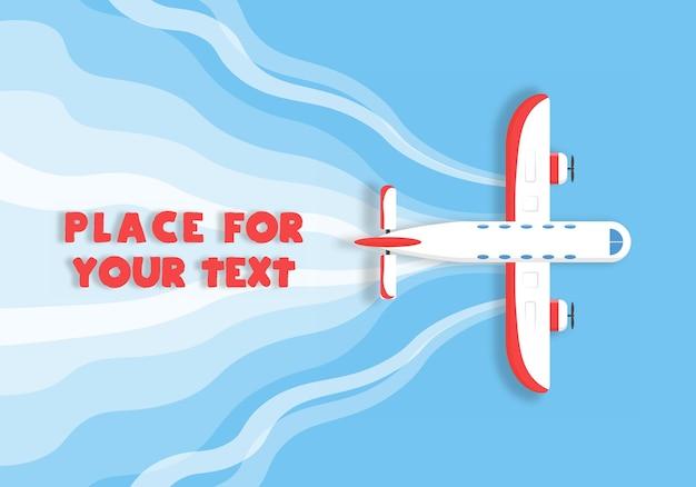 Vliegtuig, vliegtuigen, helikopters met een plek voor uw tekst in cartoonstijl. perfect voor webbanners en advertenties. bovenaanzicht van een vliegend vliegtuig.