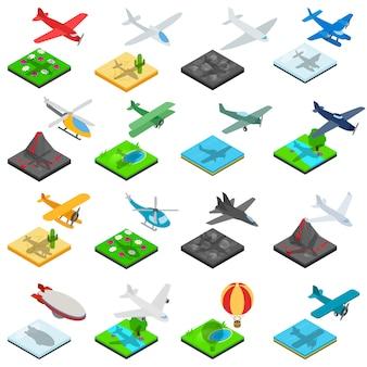 Vliegtuig vlucht iconen set, isometrische stijl