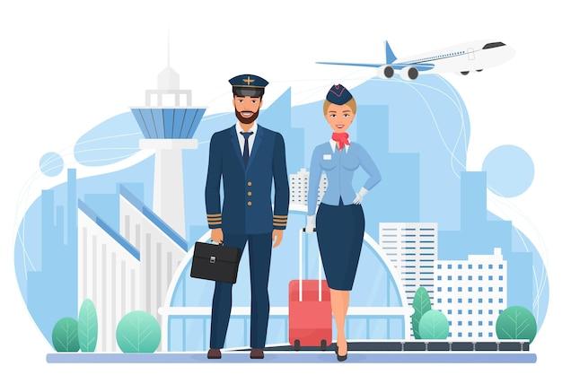 Vliegtuigbemanningsmensen in moderne luchthavenstewardess en piloot met staande reistassen