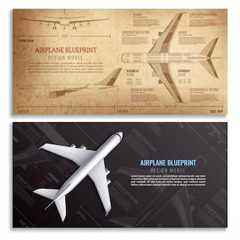 Vliegtuigblauwdruk twee horizontale banners met gedimensioneerde tekening van realistische passagiersvliegtuigen