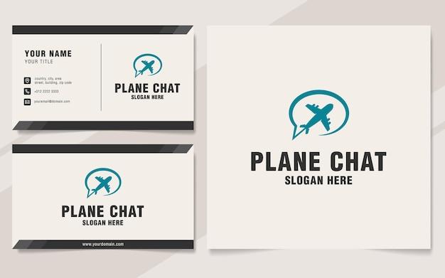 Vliegtuigchat-logosjabloon in monogramstijl