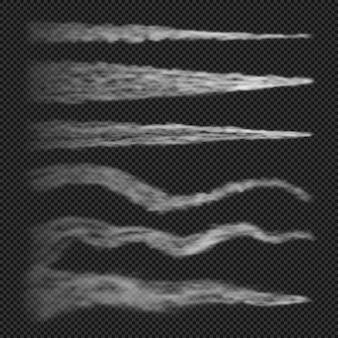 Vliegtuigcondensatiesporen rook geïsoleerd op transparant