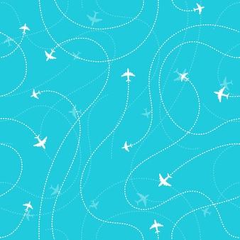 Vliegtuigen bestemmingen donkere naadloze achtergrond