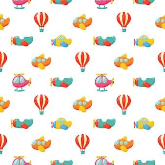 Vliegtuigen en ballon naadloos patroon
