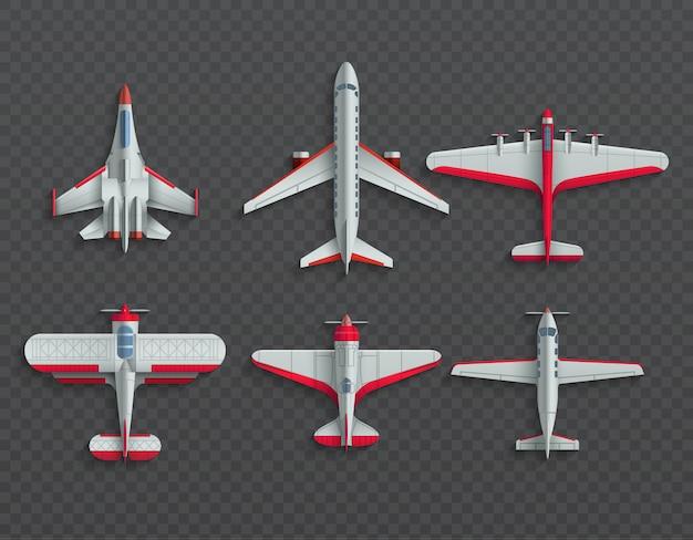 Vliegtuigen en militaire vliegtuigen bovenaanzicht. 3d lijnvliegtuig en vechtersvector