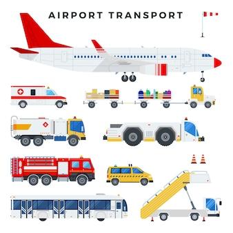 Vliegtuigen en voertuigen van de gronddiensten op de luchthaven