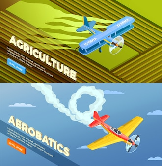 Vliegtuigen helikopters isometrische banner met lees meer knop en afbeeldingen van landbouw