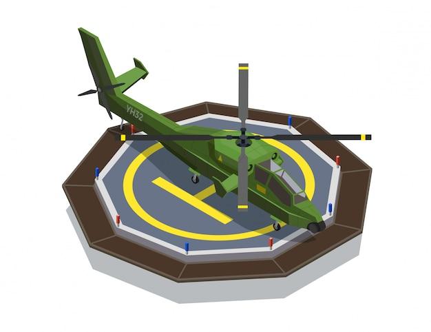 Vliegtuigen helikopters isometrische compositie met afbeeldingen van militaire helikopter ingesteld op helikopterplatform landingsdek