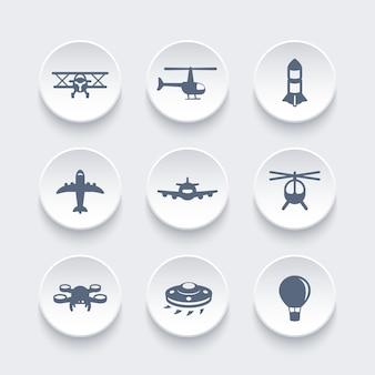 Vliegtuigen iconen set, vliegtuig, luchtvaart, luchtvervoer, helikopter, drone, tweedekker, buitenaards ruimteschip, luchtballon, vectorillustratie