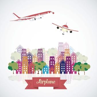 Vliegtuigen in de stad