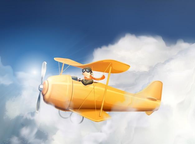Vliegtuigen in de wolken, illustratie