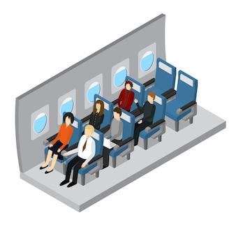Vliegtuigen interieur isometrische weergave jet passagier op comfort stoel vlucht economy class service.