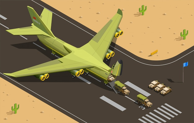 Vliegtuigen met militaire niet-gevechtsvliegtuigen tijdens luchtmobiele tussenvoegsel van illustratie van oorlogsvervoervoertuigen