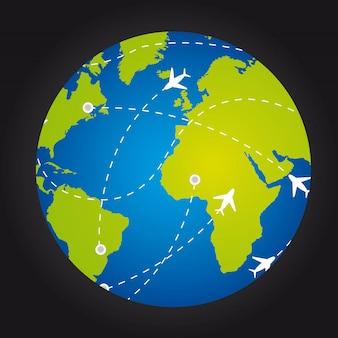 Vliegtuigen over planeet met routes