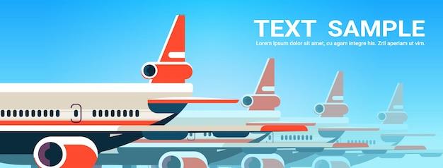 Vliegtuigen vliegen in de lucht express lucht levering scheepvaart internationaal transport concept horizontale kopie ruimte vectorillustratie