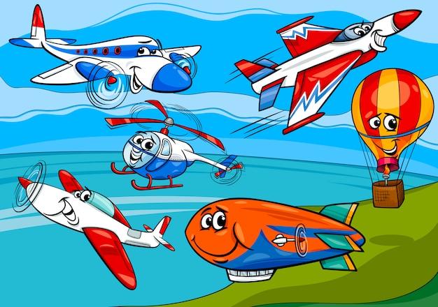 Vliegtuigen vliegtuigen groep cartoon afbeelding