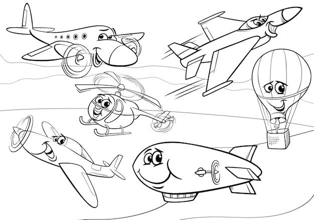 Vliegtuigen vliegtuigen groep kleurplaat