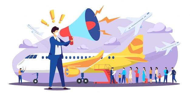 Vliegtuigevacuatie landburgers naar geboorteland, illustratie. preventie van virusverspreiding. voorbereiding voor vlucht, service