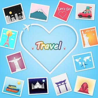 Vliegtuighart en fotoalbum met reiselementen.