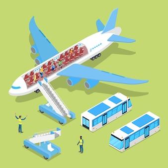Vliegtuiginterieur met passagiers