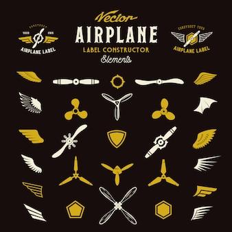 Vliegtuiglabels of emblemenbouwelementen op donkere achtergrond
