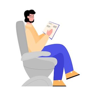 Vliegtuigpassagier ontspannen tijdens vlucht platte vectorillustratie geïsoleerd