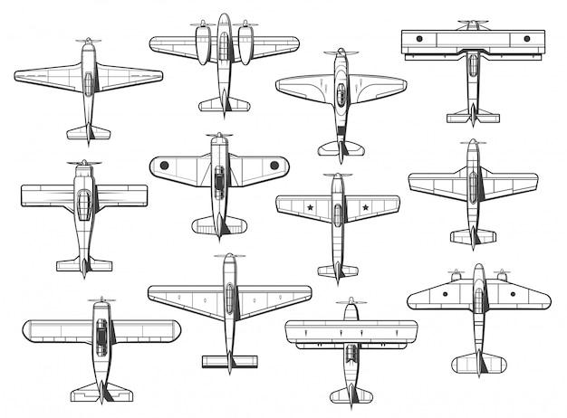 Vliegtuigpictogrammen, vliegtuigen en vliegtuigenpictogrammen, retro